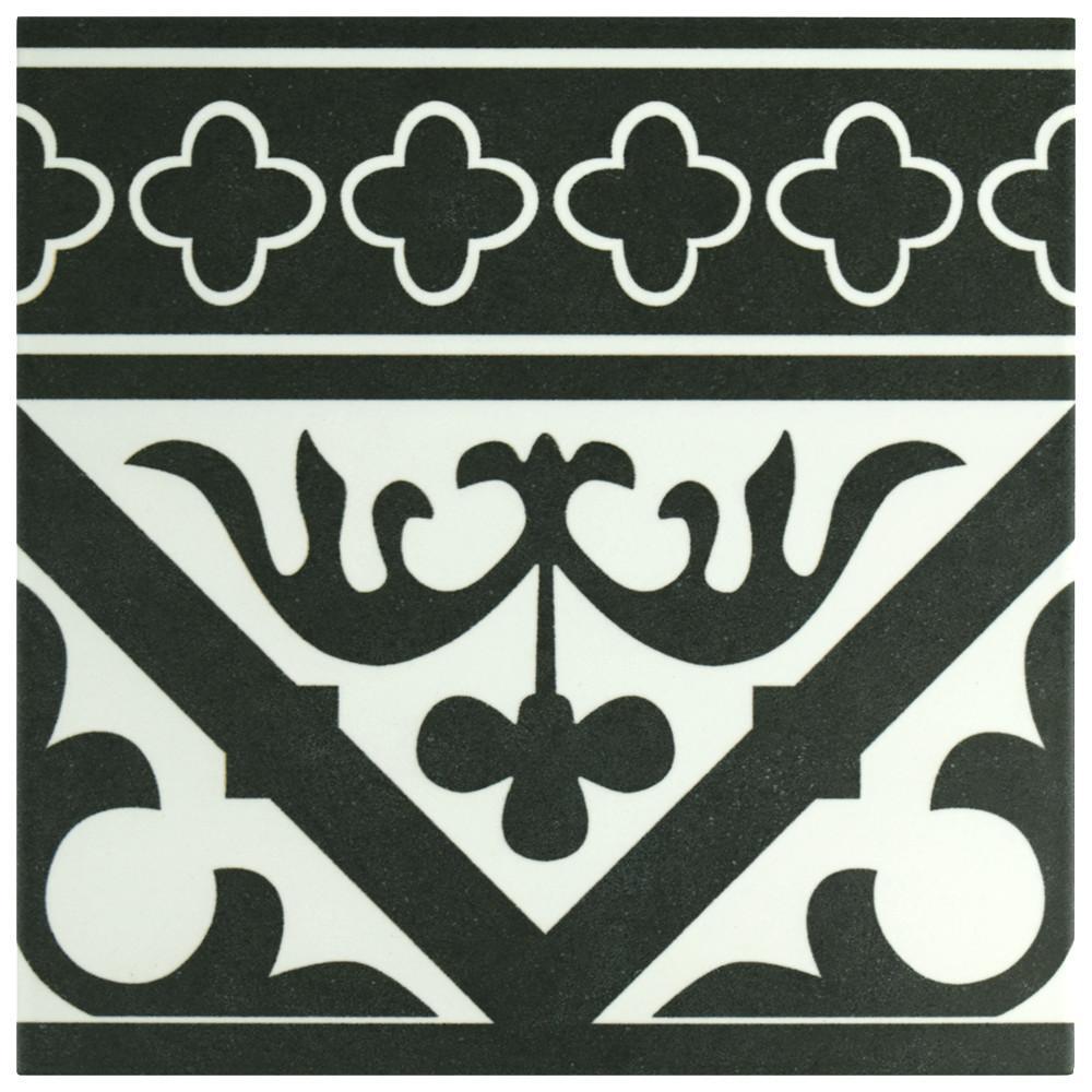 Merola Tile Majestic Orleans Cenefa Black Encaustic 9 3 4 In X 9 3 4 In Porcelain Floor And Wall Border Tile Fcdmocbk The Home Depot