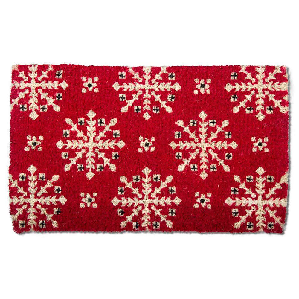 Lodge Snowflake 18 in. x 30 in. Coir Door Mat