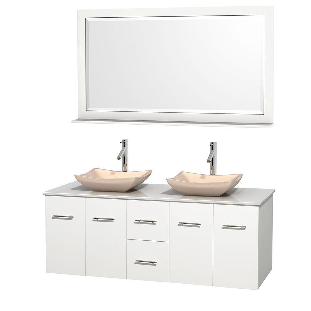 Wyndham Collection Centra 60 in. Double Vanity in White with Solid-Surface Vanity Top in White, Ivory Marble Sinks and 58 in. Mirror