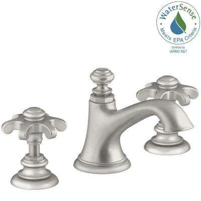 Artifacts 8 in. Widespread 2-Handle Bell Design Bathroom Faucet in Vibrant Brushed Nickel with Prong Handles