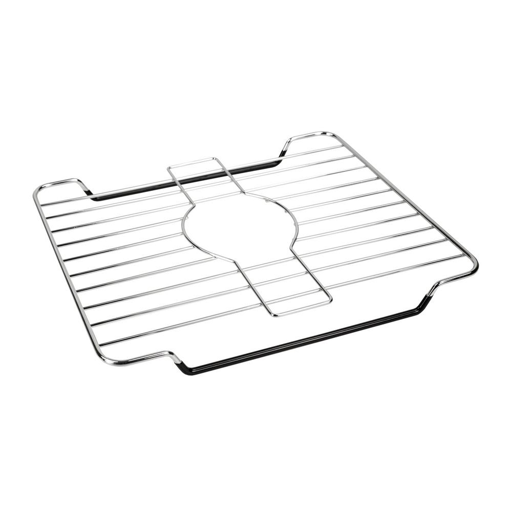 12.37 in x 10.37 in x .87 in. Chrome Sink Protector