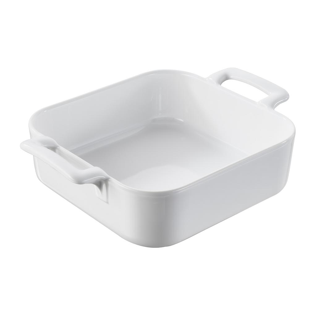 Belle Cuisine 7.75 in. Square Porcelain Baking Dish in White