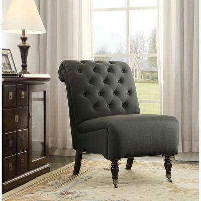 Cora Black Fabric Roll Back Accent Chair