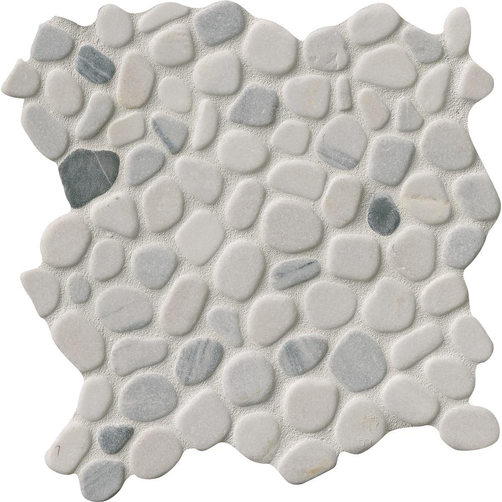 Black White Pebbles 11 42 In X 10mm Marble Mesh Mounted Mosaic Tile