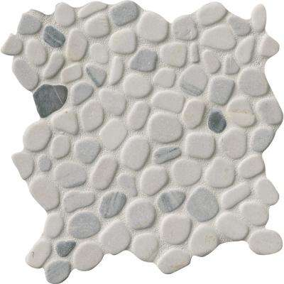 Black/White Pebbles 11.42 in. x 11.42 in. x 10 mm Marble Mesh-Mounted Mosaic Tile
