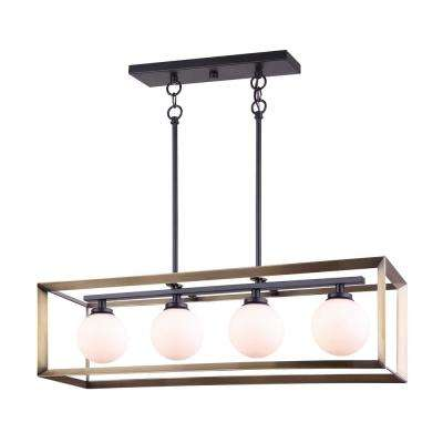 Leo 4-Light Matte Black and Gold Chandelier with Opal Glass Shades