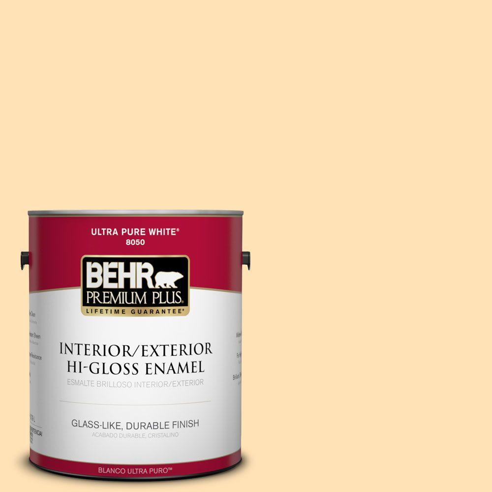 BEHR Premium Plus 1-gal. #P250-2 Golden Nectar Hi-Gloss Enamel Interior/Exterior Paint