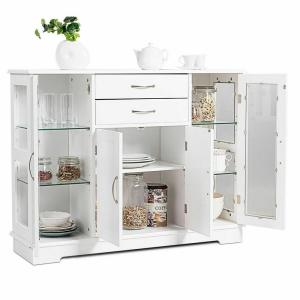 Costway Buffet Storage Cabinet Console Cupboard with Glass ...