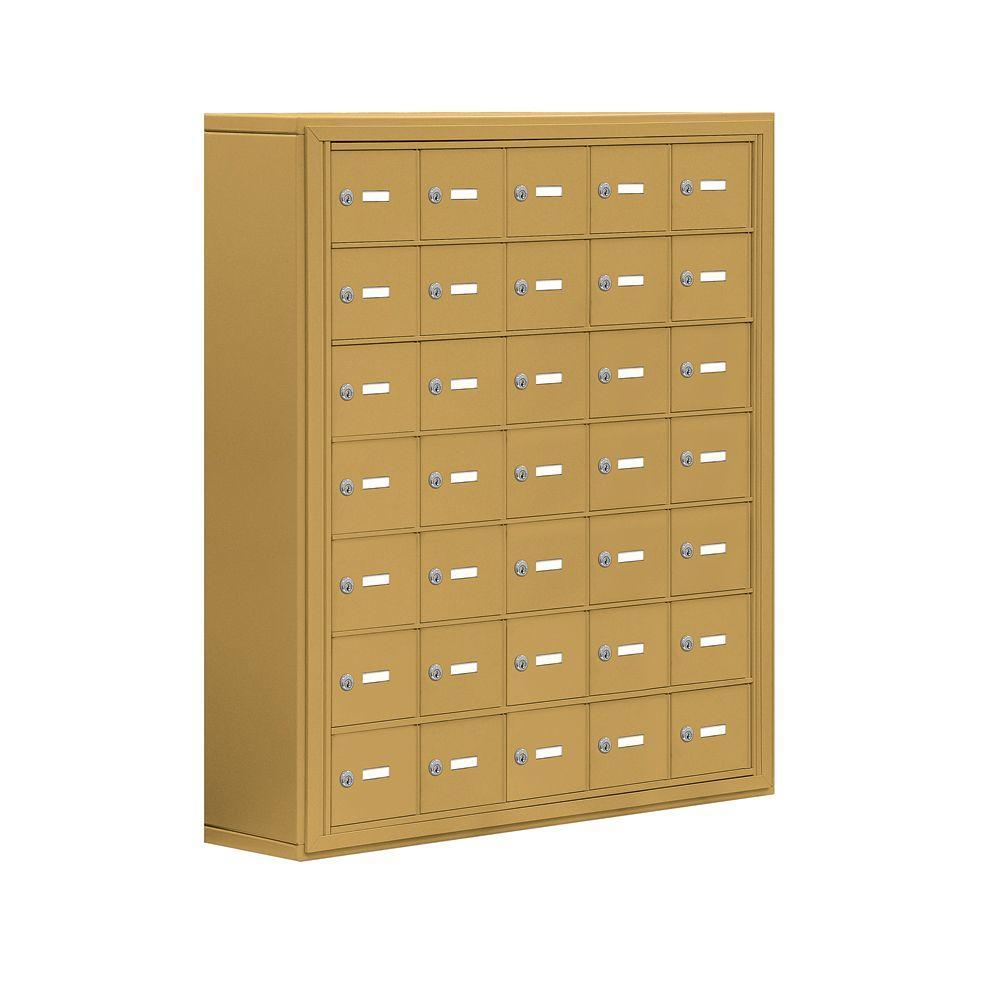 Salsbury Industries 19000 Series 37 in. W x 42 in. H x 9.25 in. D 35 A Doors S-Mounted Keyed Locks Cell Phone Locker in Gold