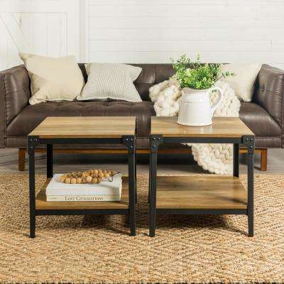 Angle Iron Rustic Wood End Table in Rustic Oak (Set of 2)