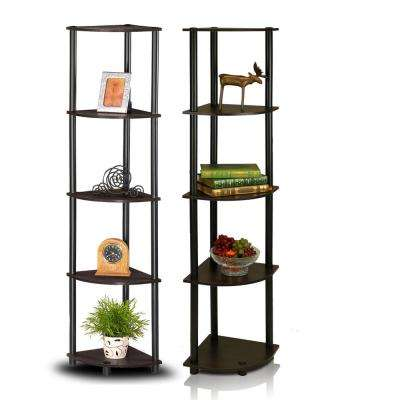 Turn-N-Tube Espresso/Black 5-Shelf Corner Open Shelf (2-Pack)