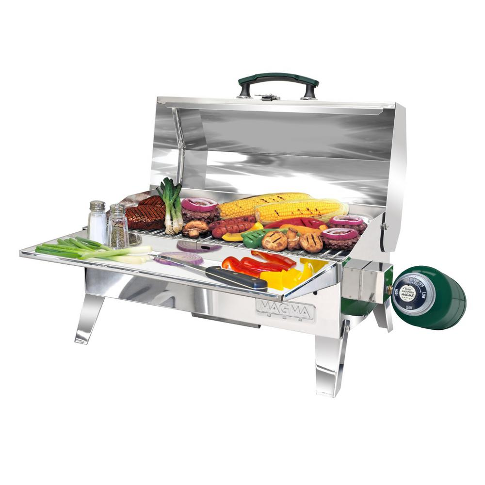 Magma Adventurer Series RV Camping Propane Gas Portable Grill in Stainless Steel