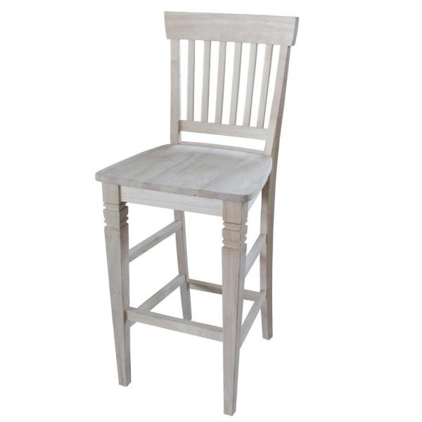 Seattle 29.9 in. Unfinished Wood Bar Stool