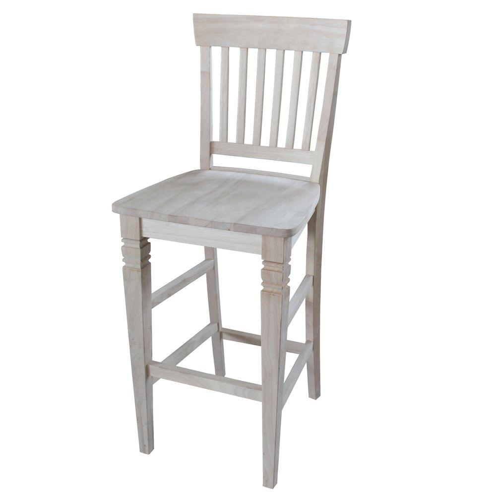 International Concepts Seattle 29 9 In Unfinished Wood Bar Stool S 113 The Home Depot