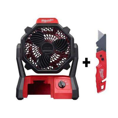M18 18-Volt Lithium-Ion Cordless Jobsite Fan with FASTBACK Folding Utility Knife