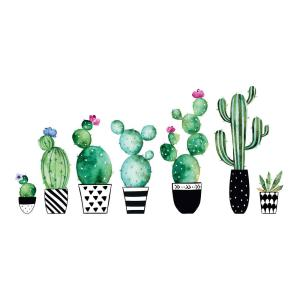 Home Decor Line Green Watercolor Cactus Wall Decals Set