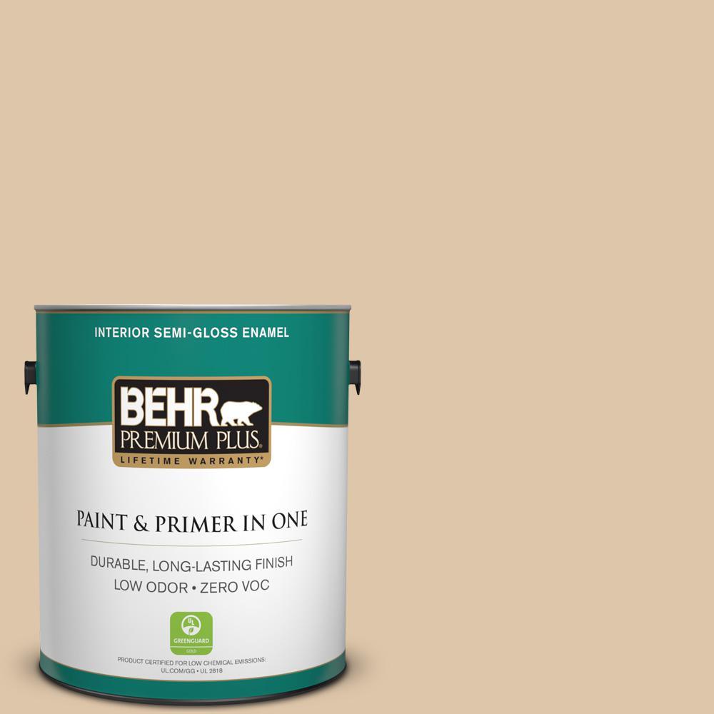 1 gal. #PPU4-13 Sand Motif Zero VOC Semi-Gloss Enamel Interior Paint