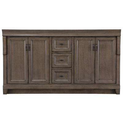 Naples 60 in. W Bath Vanity Cabinet Only in Distressed Grey for Double Bowl