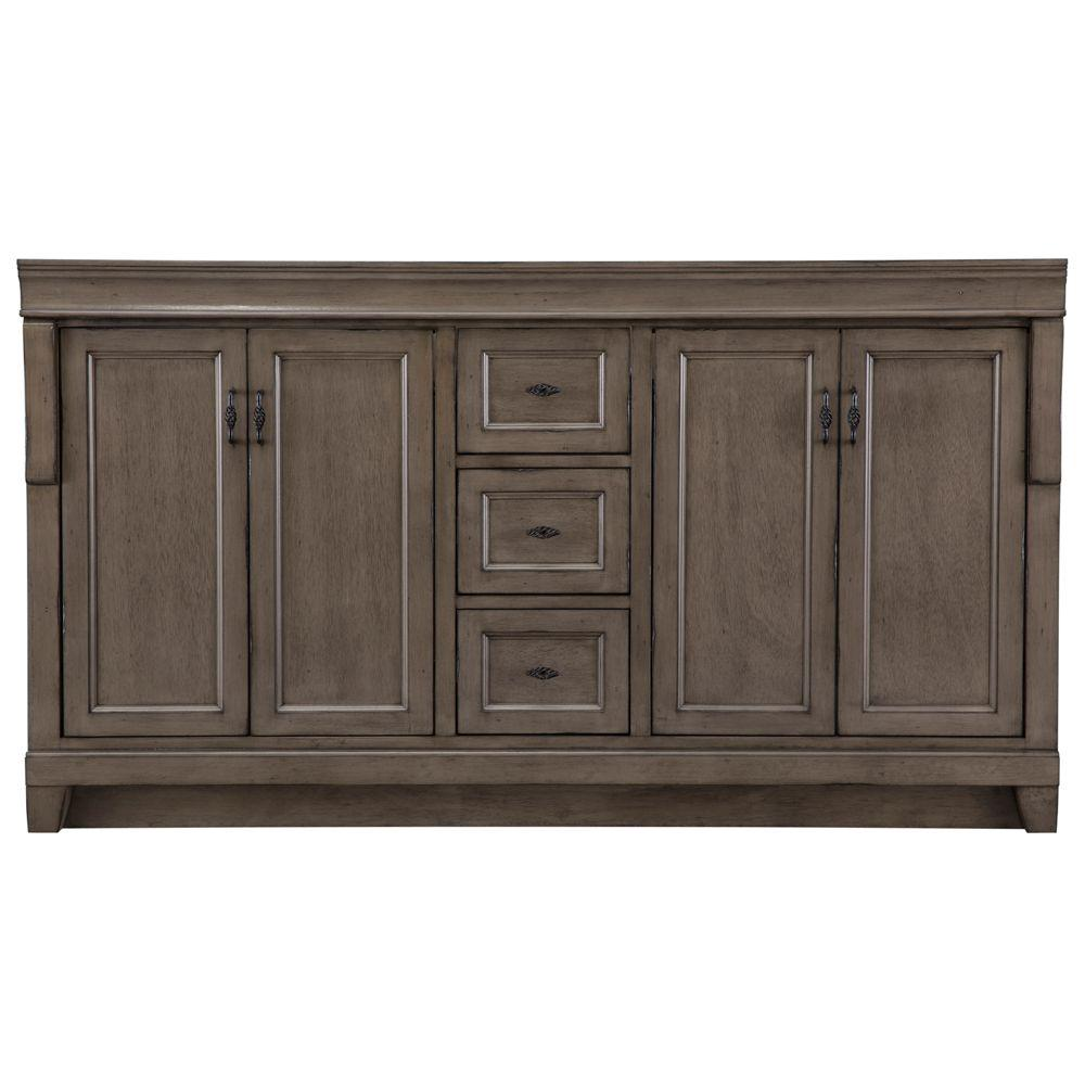 Home Decorators Collection Naples 60 In. W Bath Vanity Cabinet Only In  Distressed Grey For Double Bowl NADGA6021D   The Home Depot