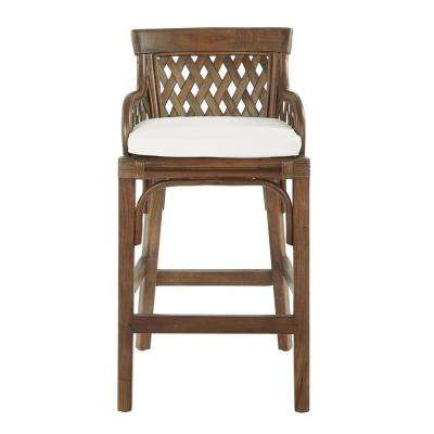 Plantation Brown Stained Bar Stool with Wood Rattan Frame