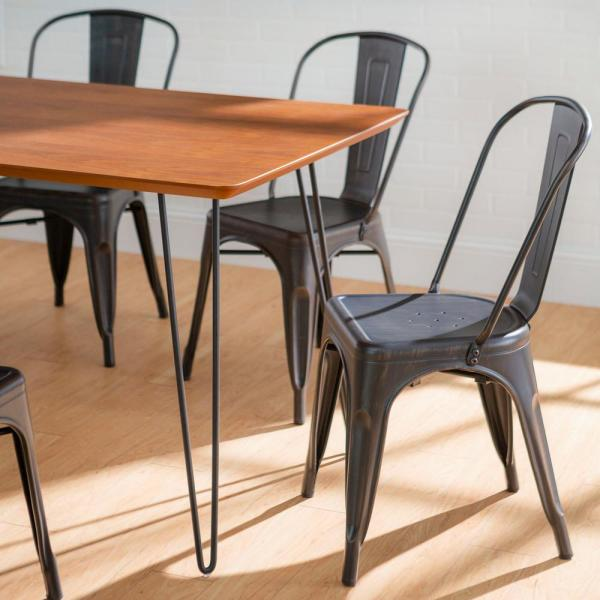 Walker Edison Furniture Company Contemporary 7 Piece Walnut Black Mid Century Modern Urban Square Hairpin Dining Set With Caf Chairs Hd60hpmcwt 7 The Home Depot