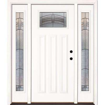 63.5 in. x 81.625 in. Rochester Patina Craftsman Unfinished Smooth Left-Hand Fiberglass Prehung Front Door w/ Sidelites