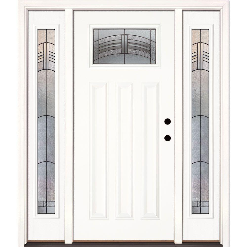 Feather River Doors 63.5 in. x 81.625 in. Rochester Patina Craftsman Unfinished Smooth Left-Hand Fiberglass Prehung Front Door w/ Sidelites