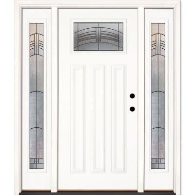 67.5 in. x 81.625 in. Rochester Patina Craftsman Unfinished Smooth Left-Hand Fiberglass Prehung Front Door w/ Sidelites