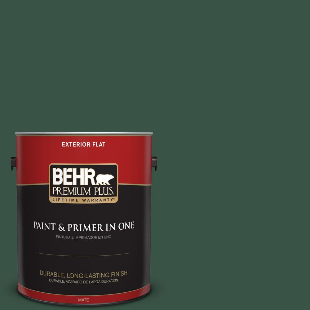 BEHR Premium Plus 1-gal. #470F-7 Deep Jungle Flat Exterior Paint