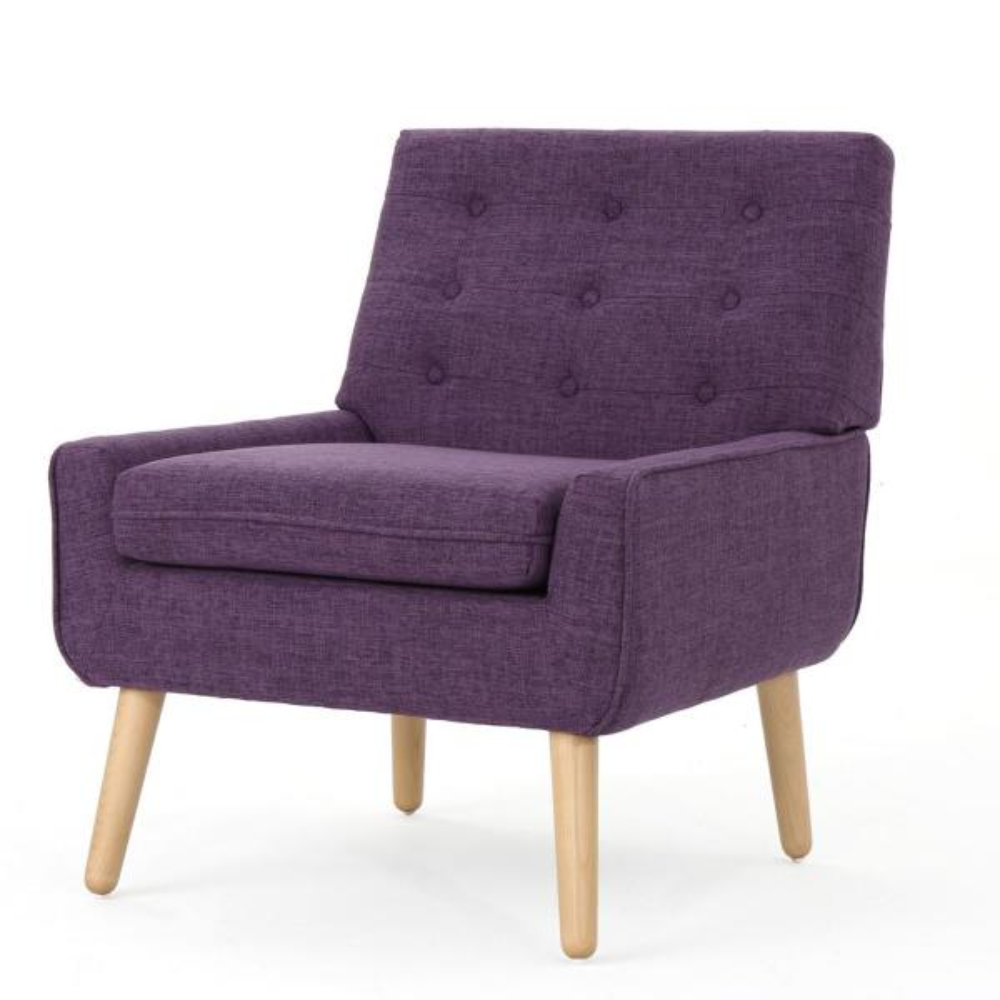 757d5c90067ed Eilidh Mid-Century Modern Button Back Muted Purple Fabric Armchair