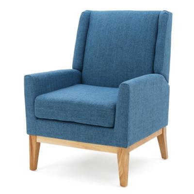Sariyah Muted Blue Fabric Wing Back Accent Chair