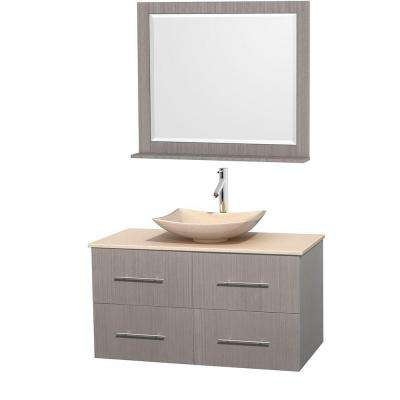 Centra 42 in. Vanity in Gray Oak with Marble Vanity Top in Ivory, Marble Sink and 36 in. Mirror