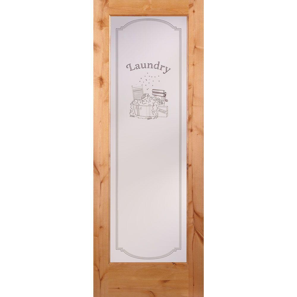 32 in. x 80 in. 1 Lite Unfinished Knotty Alder Laundry