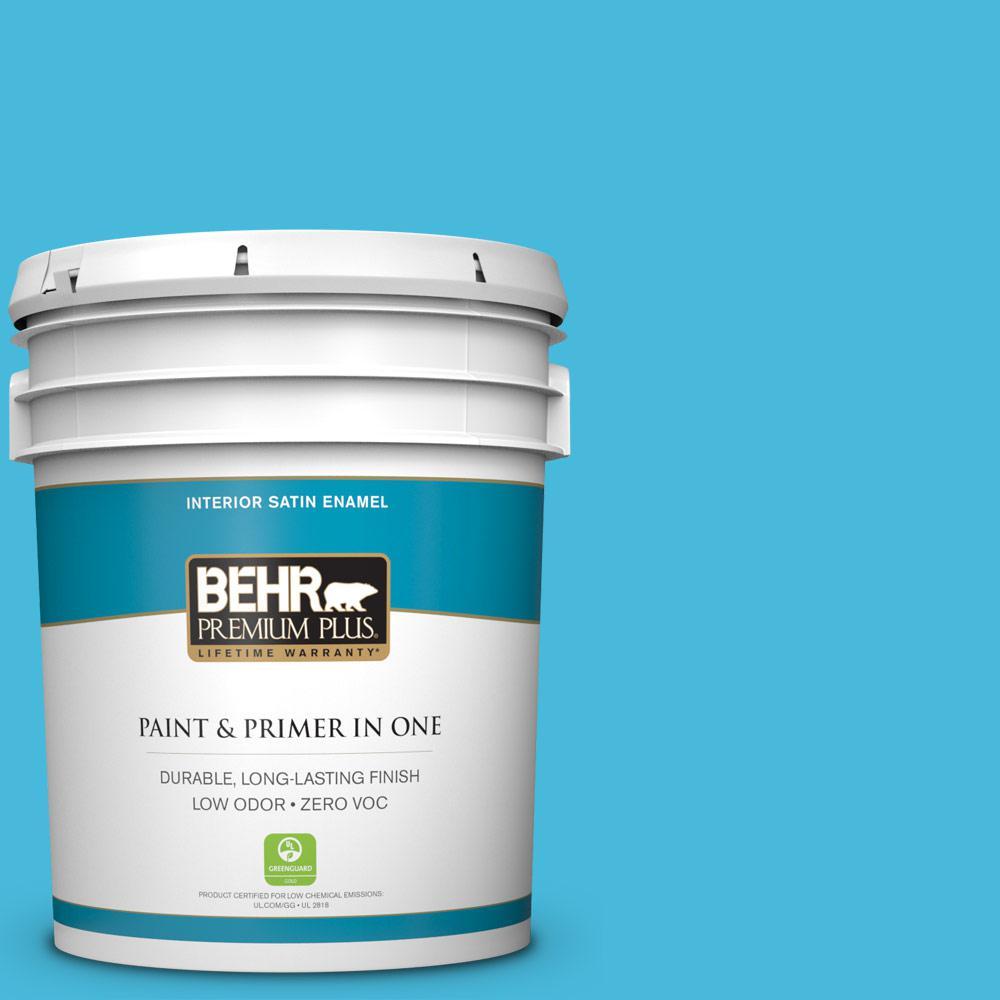 BEHR Premium Plus 5-gal. #530B-5 Azurean Zero VOC Satin Enamel Interior Paint