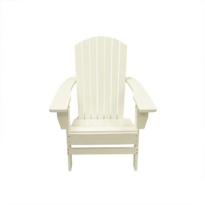 37 in. White Wooden Outdoor Patio Adirondack Chair