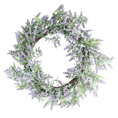 22 in. Purple and Green Springtime Lavender Wreath