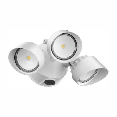 Contractor Select OLF Series 36-Watt White Dusk to Dawn Integrated LED Outdoor 3-Head Flood Light
