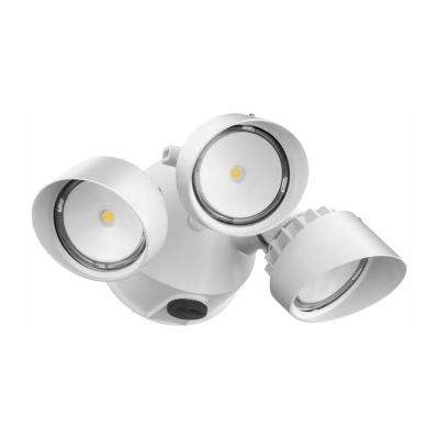 Contractor Select OLF 3RH 3-Head White Outdoor Integrated LED Dusk to Dawn Round Flood Light