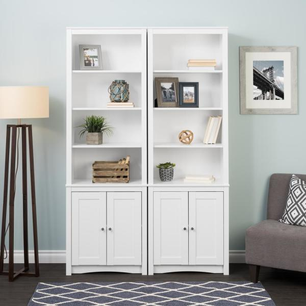 Prepac 80 In White Wood 6 Shelf Standard Bookcase With Doors Wsbh 0004 1 The Home Depot