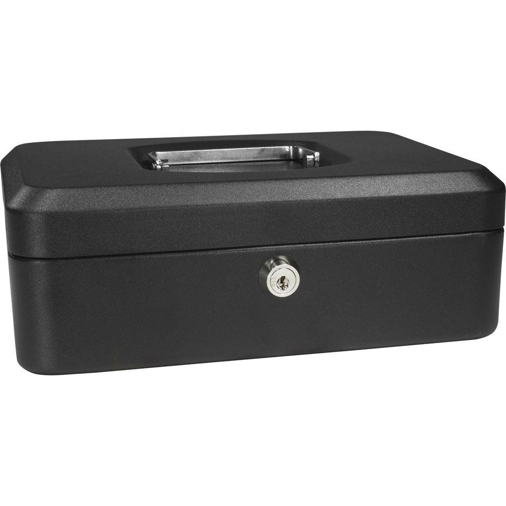 0.05 cu. ft. Steel Cash Box Safe with Key Lock, Black