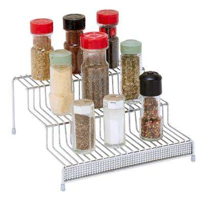 3-Tier Chrome Spice Rack Shelf Organizer in Pave Diamond Design