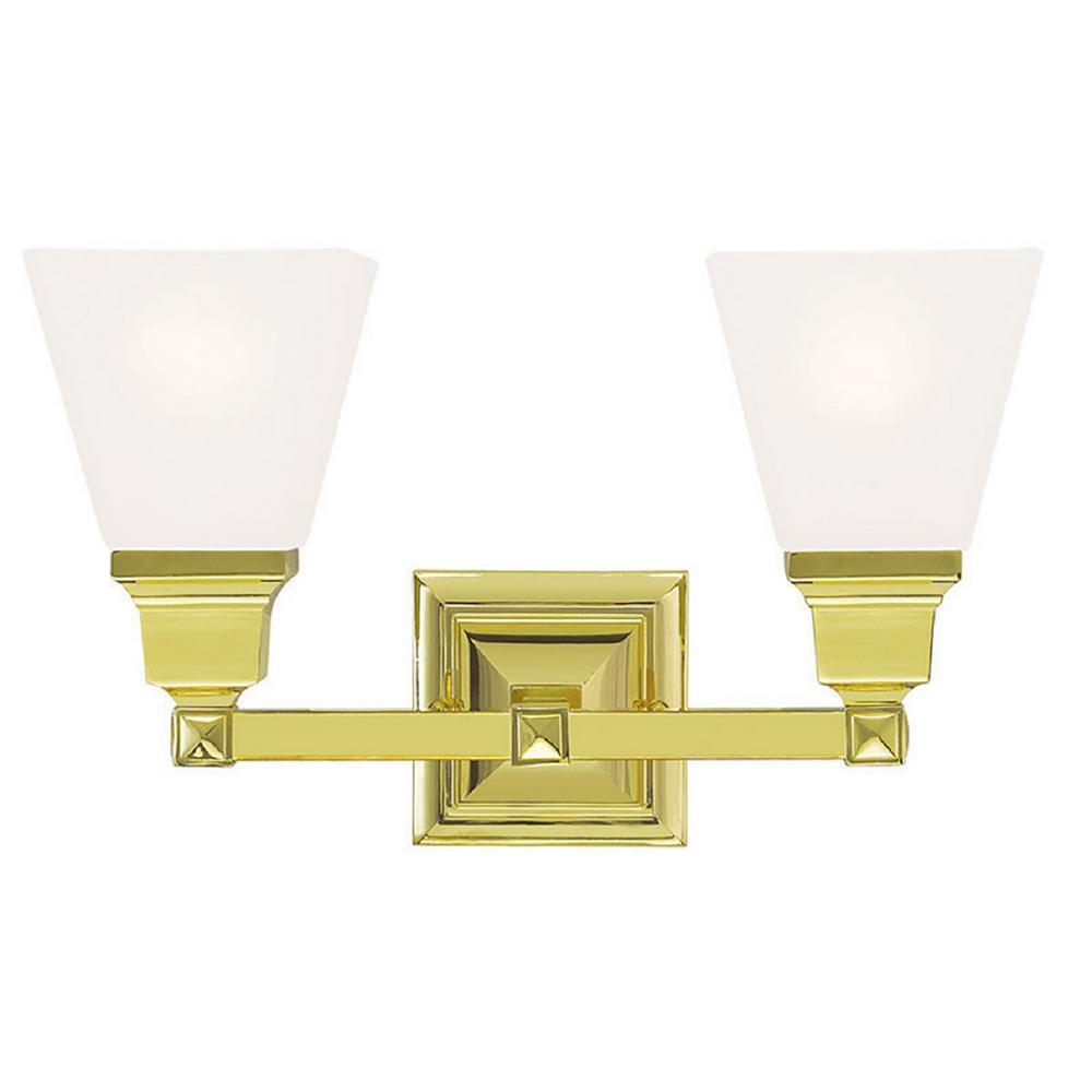 Gemini 2-Light Polished Brass Bath Light