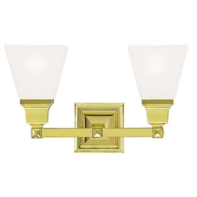 Gemini 2-Light Polished Brass Bath Light