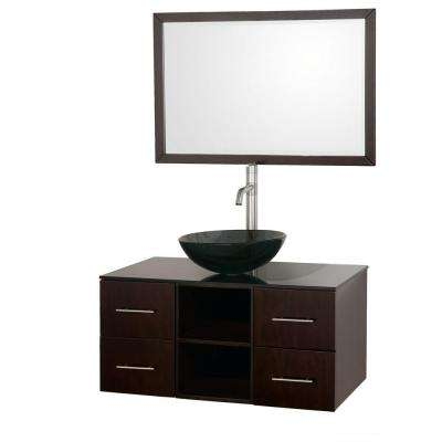 Abba 36 in. Vanity in Espresso with Glass Vanity Top in Smoke Glass, Sink and 36 in. Mirror