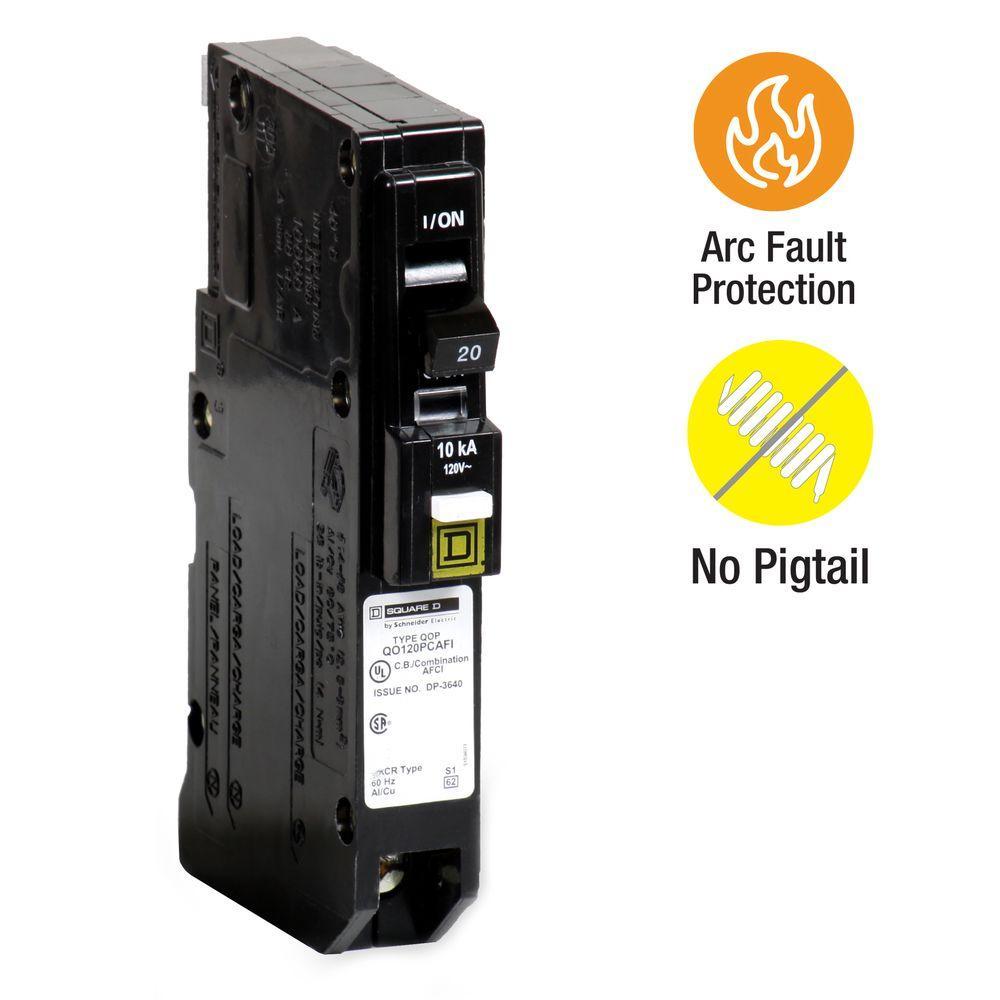 Square D QO 20 Amp Single-Pole Plug-On Neutral CAFCI Circuit Breaker