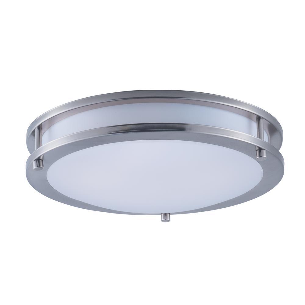 Maxim Lighting Linear 1-Light 15-Watt Satin Nickel Integrated LED Flush Mount