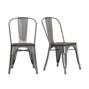 Strange Stylewell Finwick Gunmetal Gray Metal Dining Chair With Wood Creativecarmelina Interior Chair Design Creativecarmelinacom