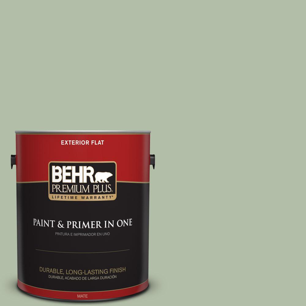 BEHR Premium Plus 1-gal. #S390-3 Creamy Spinach Flat Exterior Paint