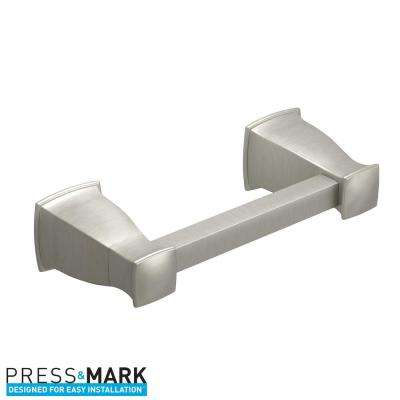 Hensley Pivoting Double Post Toilet Paper Holder with Press and Mark in Brushed Nickel