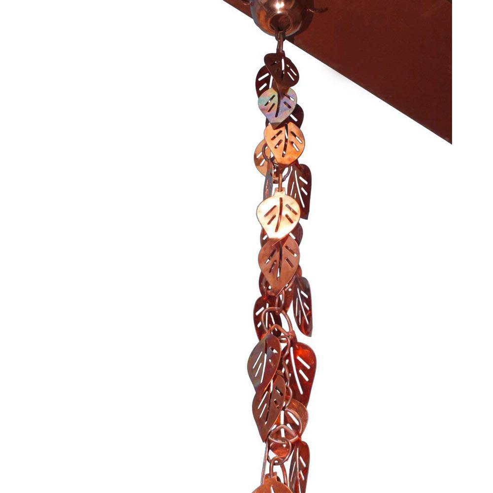 Monarch 8-1/2 ft. L Pure Copper Cascading Leaves Rain Chain